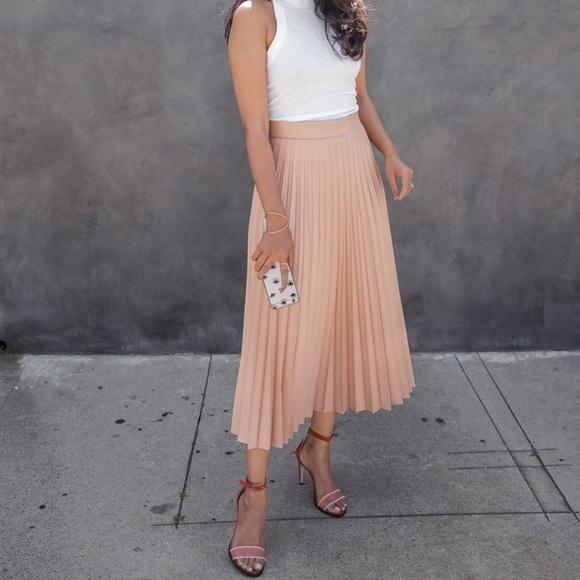 bf996a8b269 Zara Skirts | Nude Pink Coated Pleated Accordion Midi Skirt | Poshmark